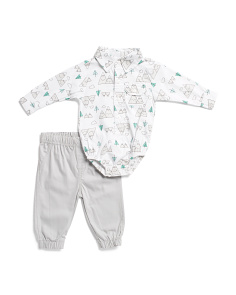 Baby Boy 2pc Mountains Bodysuit And Jogger Set