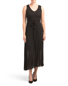 Made In Italy Pleated Skirt Midi Dress