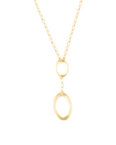 Made In Italy 14k Gold Plated Sterling Silver Oval Drop Necklace