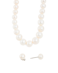 Sterling Silver Pearl Necklace And Stud Earring Boxed  Set
