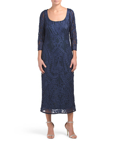 Three Quarter Sleeve Soutache Midi Gown