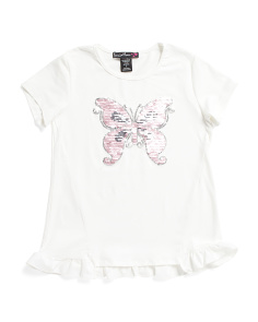Big Girls Butterfly Flip Sequin Top
