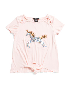 Big Girls Unicorn Flip Sequin Top