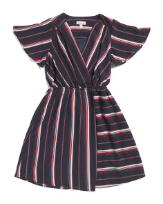 Big Girls Faux Wrap Striped Dress