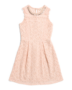 Big Girls Lace Dress With Jeweled Neck