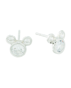 Sterling Silver Cz Mickey Mouse Stud Earrings