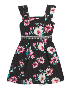Big Girls Floral Jeweled Waist Dress