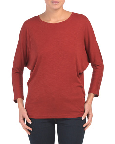 Three-quarter Sleeve Slub Scoop Neck Top