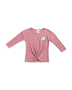 Little Girls Thermal Knot Front Unicorn Top