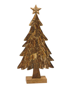 22in Wooden Chip Tree With Star