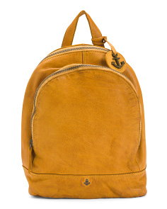 Leather Backpack With Top Entry Handle