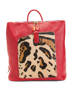 Made In Italy Maxi Leather Leopard Backpack