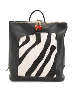 Made In Italy Leather Zebra Backpack
