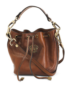 Made In Italy Drawstring Leather Bucket Bag