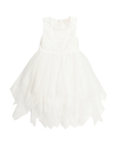 Girls Beaded Bodice Cascade Dress