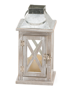 12in Wood Led Lantern
