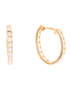 14k Gold And Cz 15mm Huggie Hoop Earrings