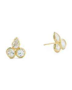 14k Gold And Cz Cluster Stud Earrings