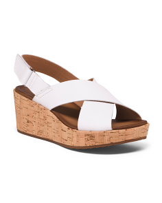 Leather Slingback Comfort Cork Wedges