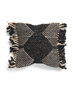 20x20 Textured Woven Pillow With Thick Fringe