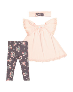 Infant Girls Flutter Tunic With Lace Set