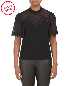 Crepe Lace Top