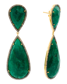 Made In India Sterling Silver Black Diamond Emerald Earrings
