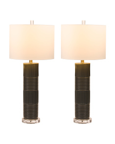 Set Of Two Pearlized Glass Lamps
