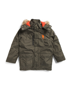Big Boys Parka With Faux Fur Hood