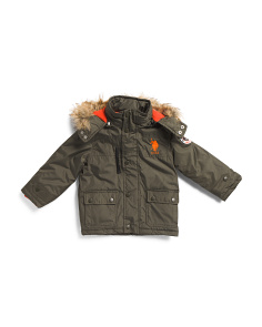 Little Boys Parka With Faux Fur Hood