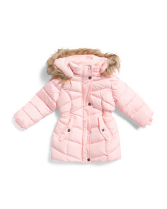 Toddler Girls Long Puffer Coat With Faux Fur Hood