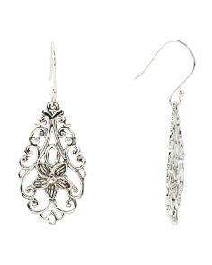 Made In Mexico Sterling Silver Floral Filigree Earrings
