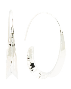 Made In Mexico Sterling Silver Hammered Curve Hoop Earrings