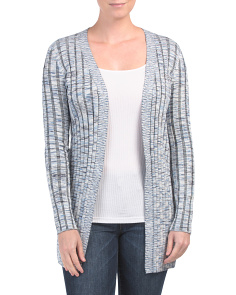Long Sleeve Open Front Ribbed Cardigan