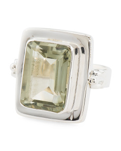 Made In India Sterling Silver Green Amethyst Ring