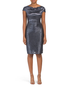 Petitie Metallic Ruched Side Dress