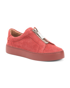 Front Zip Suede Fashion Sneakers