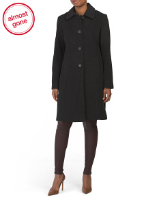Club Collar Wool & Cashmere Blend Coat
