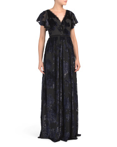 V-neck Velvet Burnout Gown