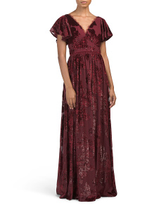 Flutter Sleeve V-neck Velvet Burnout Gown