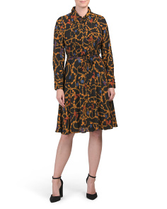 Chain Print Pintuck Shirt Dress