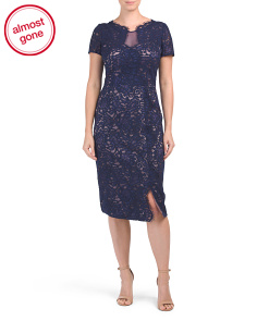 Short Sleeve Lace Midi Dress
