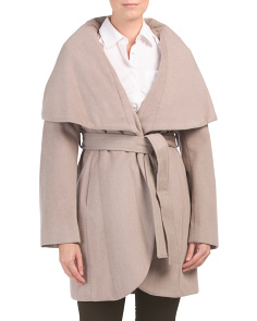 Marla Oversize Collar Wool Blend Wrap Coat