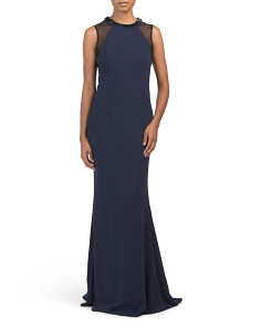 Embellished Neck Gown With Illusion Panels