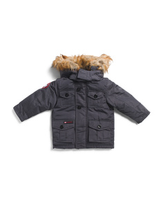 Toddler Boys Parka With Faux Fur Hood