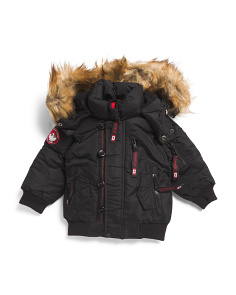 Toddler Boys Rib Bottom Parka Coat