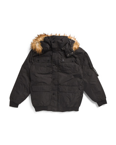 Big Boys Parka Bomber Jacket With Faux Fur Hood
