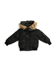 Little Boys Parka Bomber Jacket With Faux Fur Hood