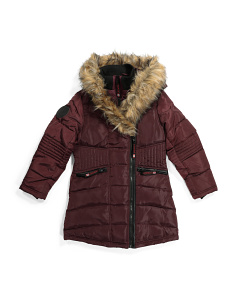 Big Girls Puffer Coat With Faux Fur Hood