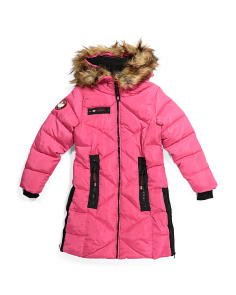 Big Girls Quilted Puffer Coat With Hood